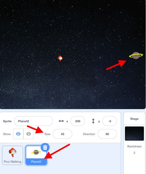 """A scene with the Pico Walking sprite and the Planet sprite on a space backdrop. With red arrows pointing towards """"Size: 45"""" and the Planet sprite."""