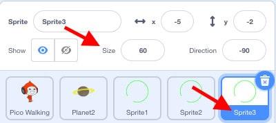 "Scratch sprite window. A red arrow points towards ""Sprite3""."