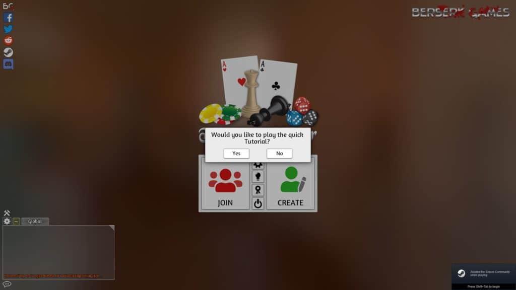 Tutorial window in Tabletop Simulator