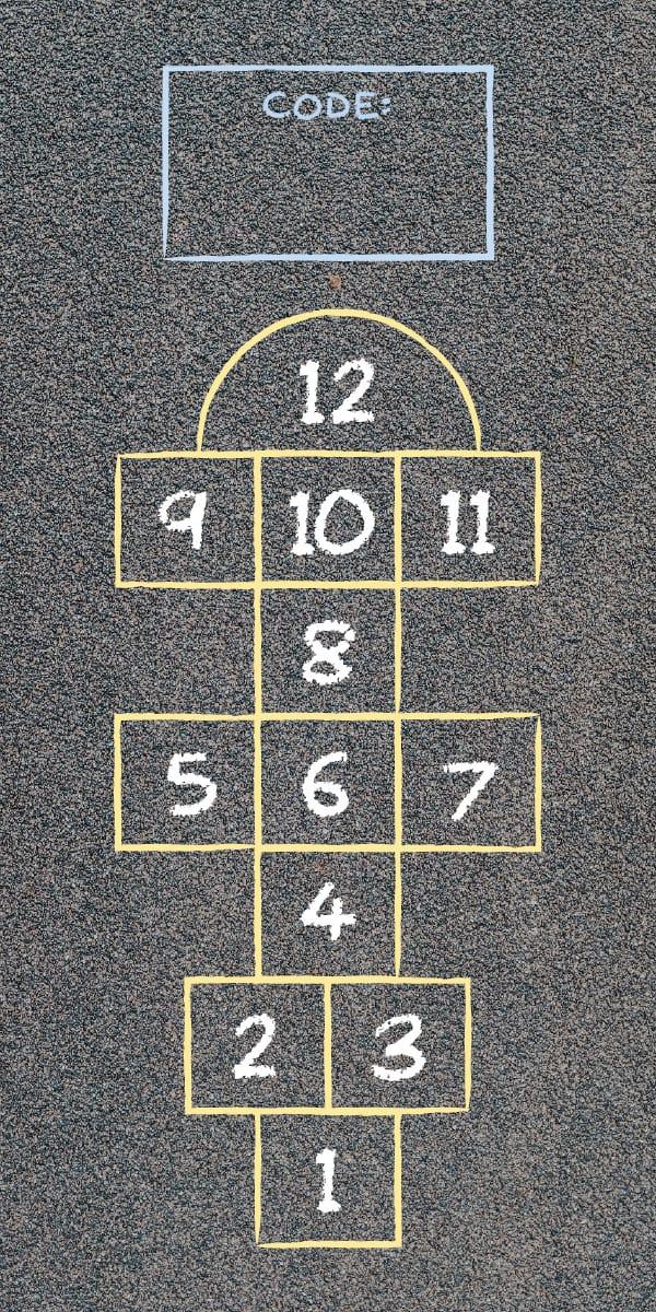 A hopscotch court drawn on pavement.