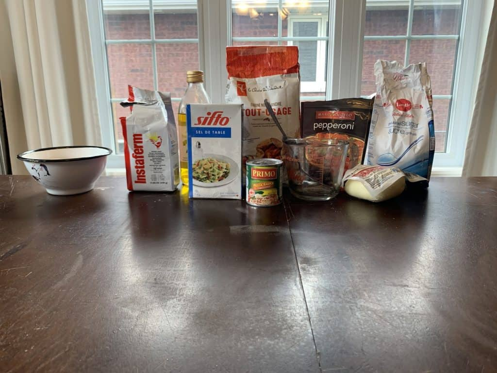 Food products sitting on a table.