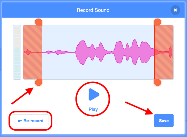 Re-record option, or save.