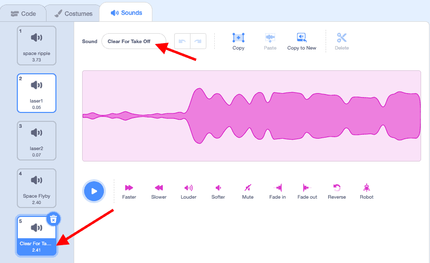 Red arrow pointing to sound list.