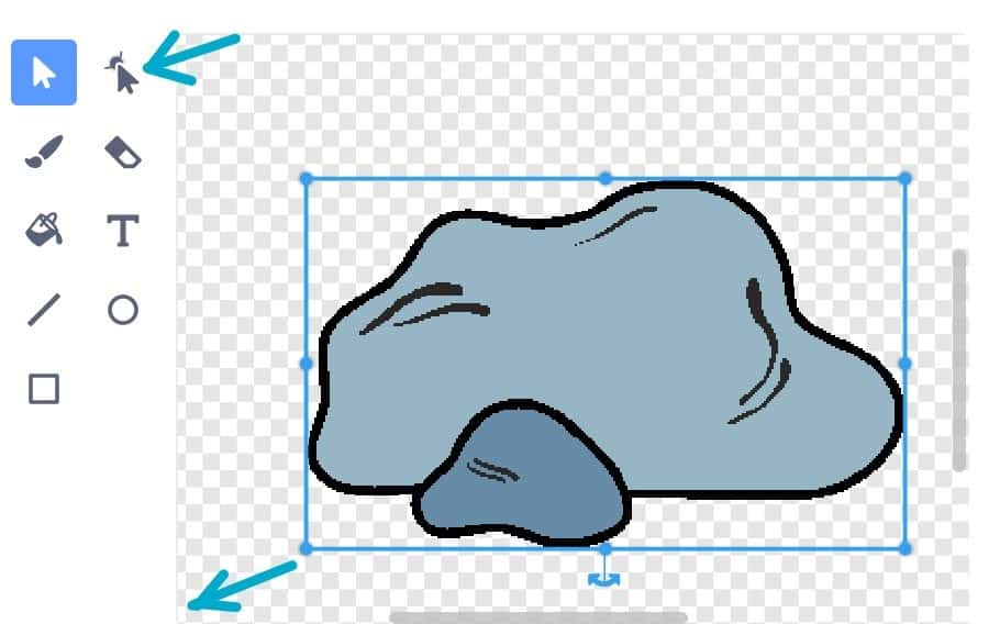 Change size, there is a blue box around the rock to expand it.