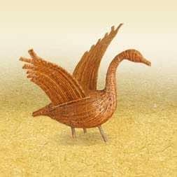A sculpture of a goose.