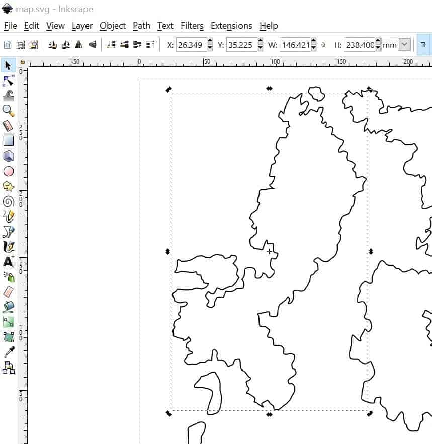 A map created in Inkscape. The selection tool has selected a small portion of the map.