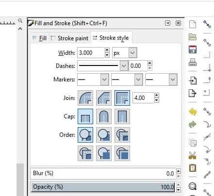 Stroke style window open in Inkscape.