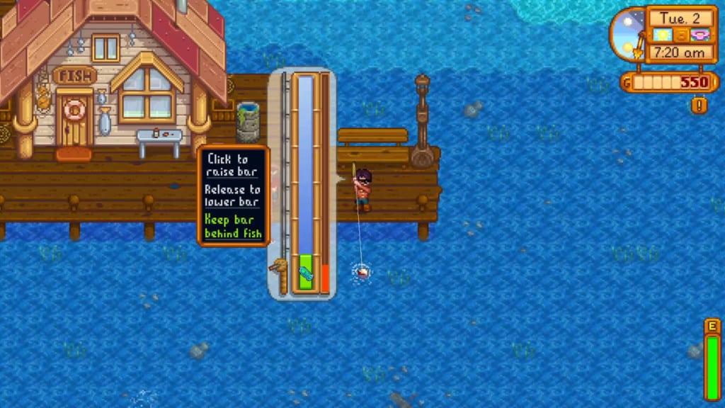 Stardew Valley fishing mini-game screenshot. Captured using OBS Studio on May 28, 2020.