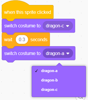 Switch costume drop down.
