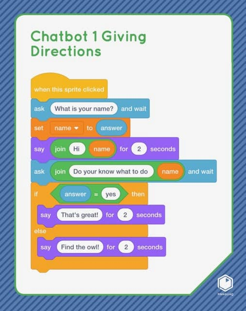 Chatbot Giving Directions Scratch card.
