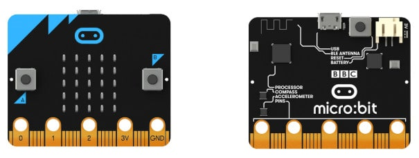 Two different types of microchips from a Micro:bits set.