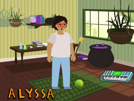 A drawing of a room. There is a person standing in the middle of the room, and Alyssa is written in the corner.