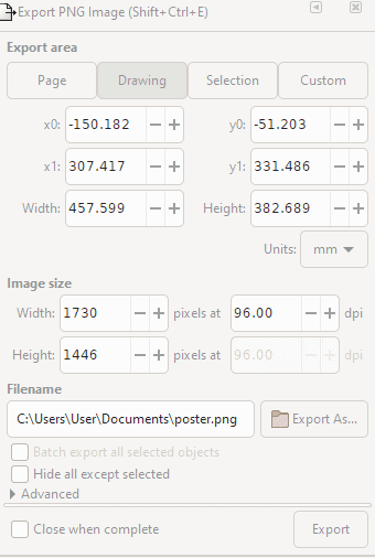 Export image option.