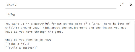 A screenshot of the Twine interface.