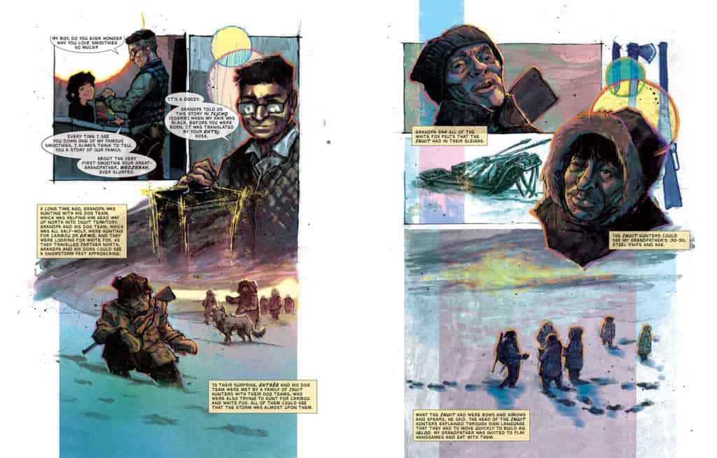 """Spread 1 of Richard Van Camp's comic """"Our Grandpa's Story: Pierre Washie."""" Illustration by Kyle Charles."""