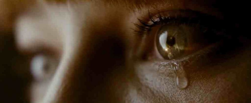 An extremely close-up shot from a movie.