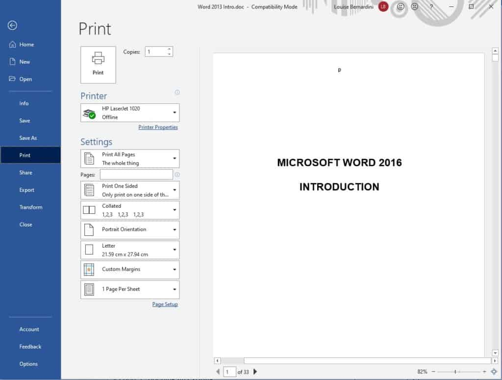 Print window from backstage view in Word
