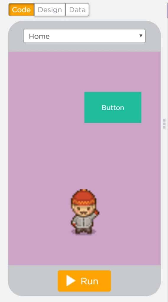 A phone screen with three buttons above for selection. The buttons read Code, Design, and Data. There is a drop-down menu to choose a screen and a run button at the bottom.