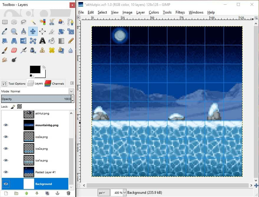 GIMP screenshot of all tiles dragged into place to form the background