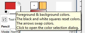 Foreground and background color selection tool