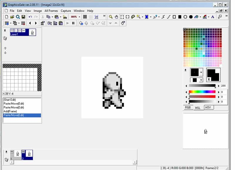 First sprite imported to the canvas and committed to the layer