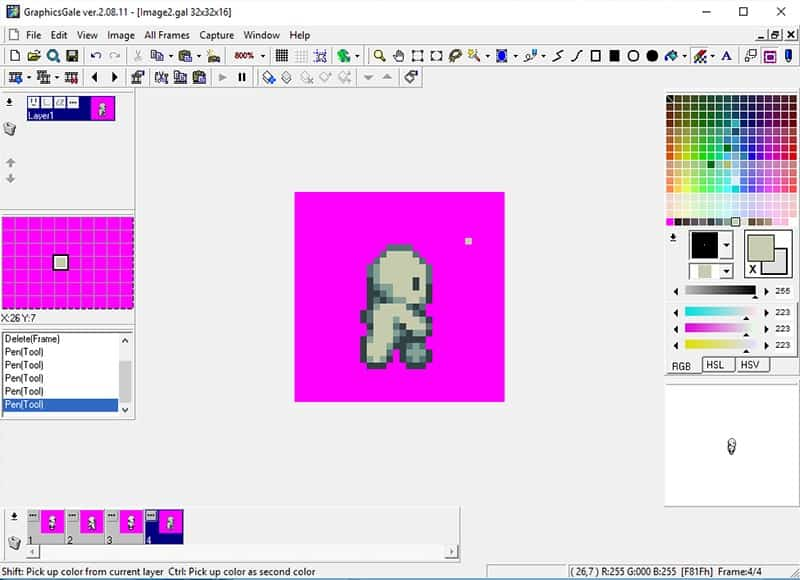 Pixels added to the fourth frame of the animation to start making the character unique
