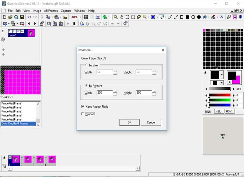 Resample panel with by Percent selected at 200 for height and width, Keep Aspect Ratio option checked and Smooth option unchecked