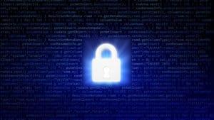 Glowing lock on background of binary code.