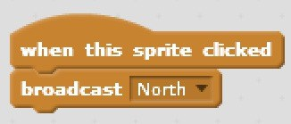 A block showing how to broadcast when a sprite is clicked