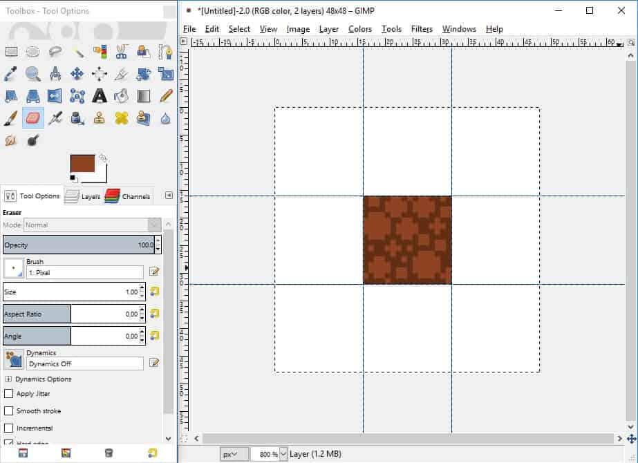 GIMP screenshot of created texture or pattern after applying clusters of brighter colours to layer