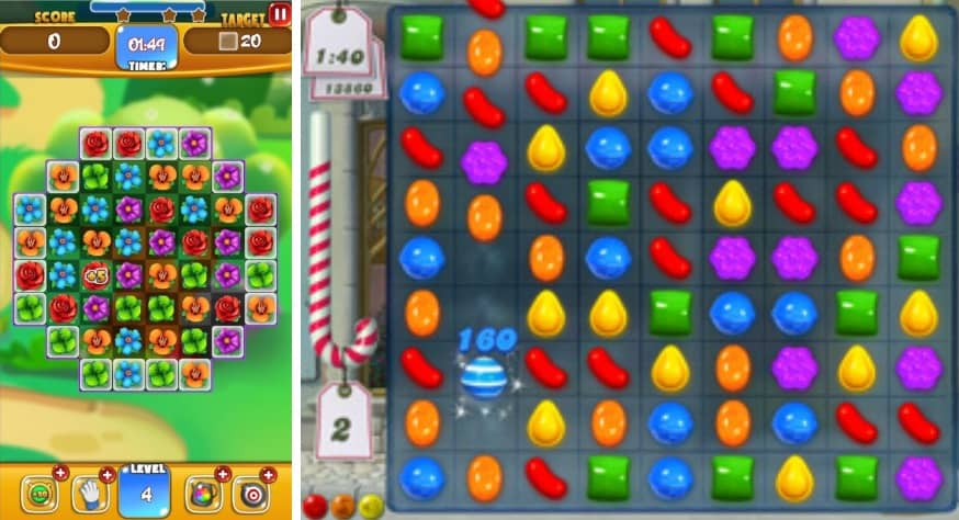 Two similar matching games with the left one using different coloured flowers and the right game using different candy and colour to match up