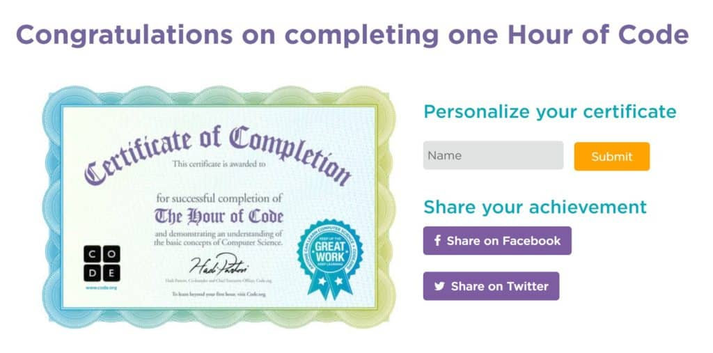 An hour of Code Certificate of Completion