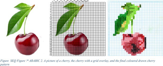A picture of a cherry, the cherry with a grid overlay, and the final coloured drawn cherry pattern.