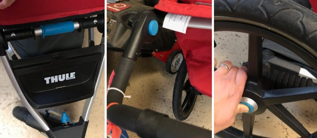 All angles of the THULE stroller, displaying more of the blue within it.