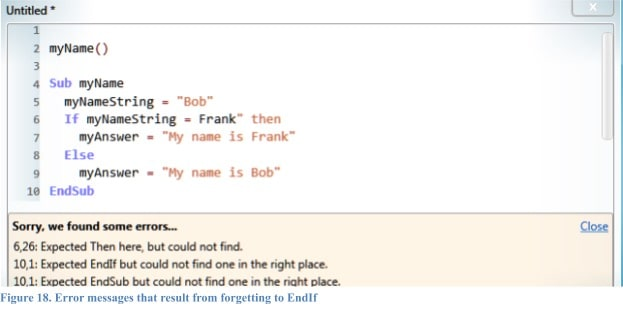 Error messages that result from forgetting to EndIf.