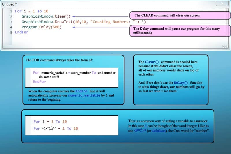 Code example of loops with conditional statements.