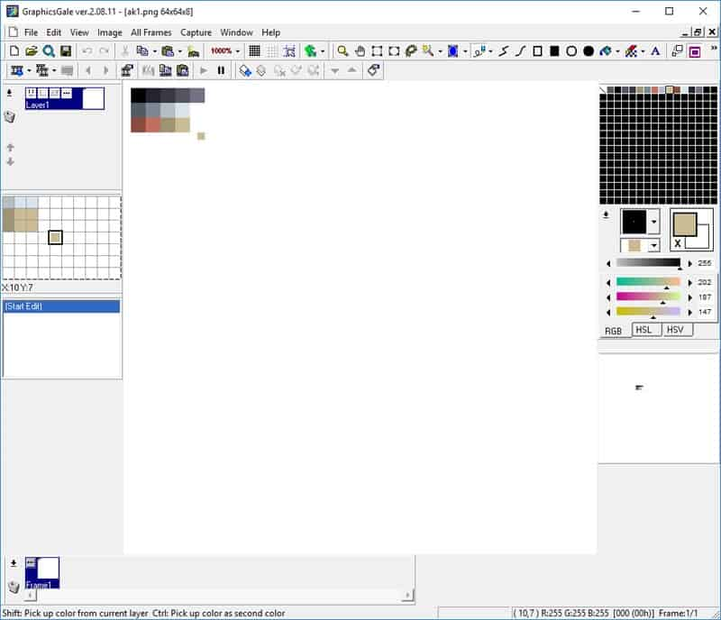 A colour palette created at the top left corner of the canvas