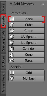 The create and plane settings highlighted in the Blender interface.