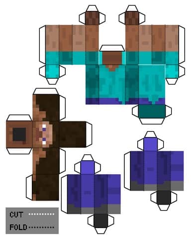 A Minecraft skin template that has dotted line to cut and fold to make a character.