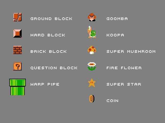 Super Mario elements in in World 1-1.