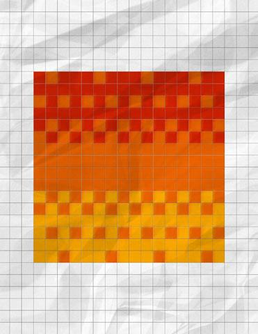 Example of dithering technique with the colours yellow, orange and red created on graph paper