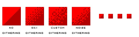 Four different examples of dithering using two shades of red