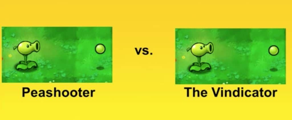 Peashooter vs Vindicator. two different plants available in the Plants vs Zombies game.