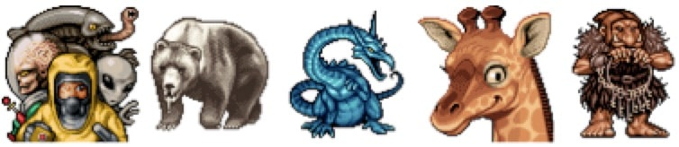Pixel art examples of a bear, a dragon, a giraffe and a goblin