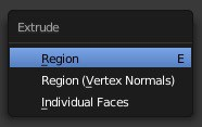 The extrude options in Blender.