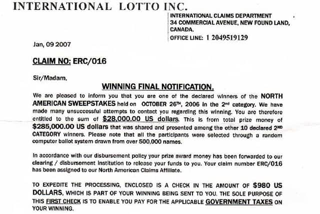A scam letter sent out to tell someone they have won the lottery.