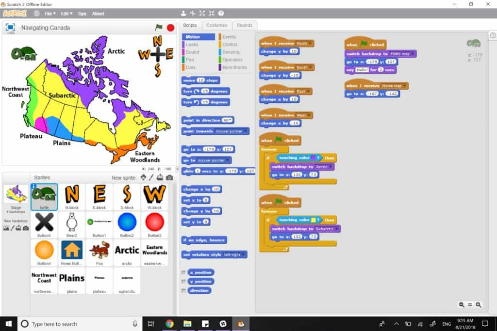 A completed Scratch project showing a number of logic blocks as well as a full map that is coloured to the various regions of Indigenous geographic areas including the Artic, the Subartic, the Northwest Coast, the Plateau, the Plains and the Eastern Woodlands.