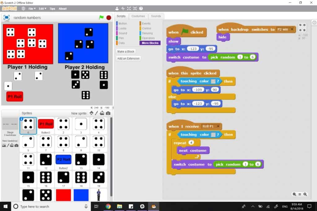 The Tenzi Dice game being played in Scratch.