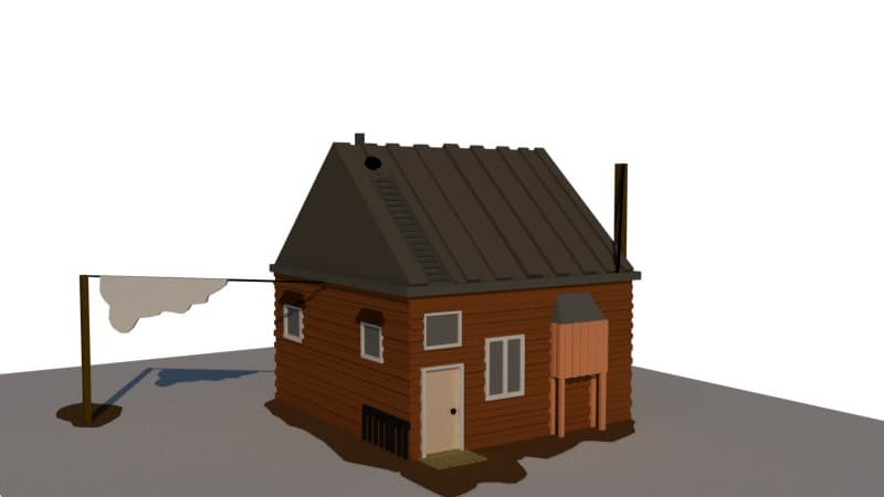 A 3D house model created in SketchUp.