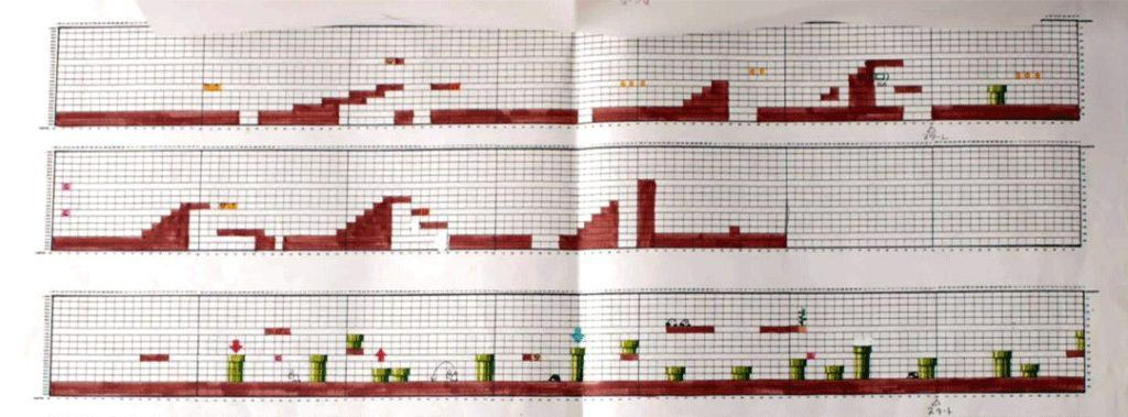 Some planning sheets from Super Mario Bros.